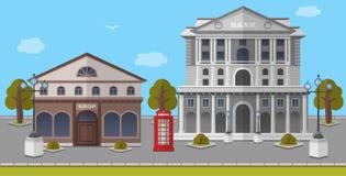 Packa ihop och shoppa på fyrkanten av London, Förenade kungariket Vektor isolerad illustration Arkivfoto