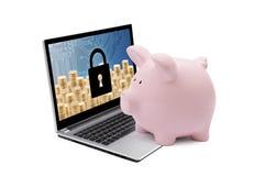 Packa ihop skyddsbegrepp Spargris med datorsäkerhetssystemet på bärbara datorn royaltyfri foto