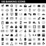 100 packa ihop symboler ställde in, enkel stil Arkivbilder