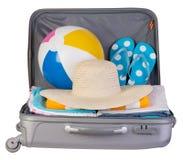 Packad resväska mycket av semesterobjekt Royaltyfria Foton