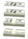 packad set för gruppdollarpengar anmärkningar Royaltyfri Fotografi