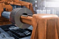 Packade rullar av stålarket, förkylning - rullande stål rullar ihop royaltyfri foto