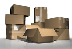 Package. Cardboard boxes again white background Royalty Free Stock Images