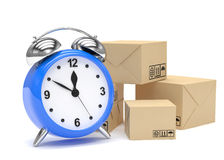 Package and alarm clock, delivery concept. On white Stock Images