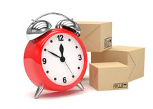 Package and alarm clock, delivery concept. On white Royalty Free Stock Photos