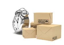 Package and alarm clock, delivery concept. On white Stock Image
