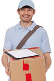 Package arrived. Courier delivering a package with clipboard for a signature - isolated over white stock images