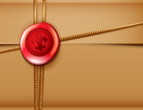 Package background with red wax seal Royalty Free Stock Photos