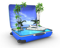 Package beach vacation concept yaht Stock Images