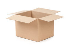 Package Box Opened. Over white background Stock Images