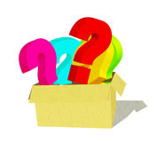 Package or Box of Questions ( on White Background) Royalty Free Stock Image
