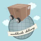 Package box with wheels Stock Images