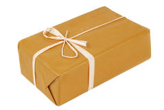 Package brown isolated. On white royalty free stock photo