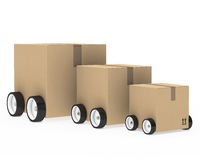 Package car. Brown package car from small too big Royalty Free Stock Photos