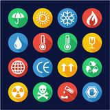 Package Or Cargo Marks Icons Flat Design Circle. This image is a vector illustration and can be scaled to any size without loss of resolution Stock Images