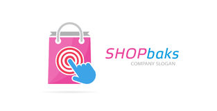 Package and click logo combination. Shop and cursor symbol or icon. Unique buy and sale logotype design template. Stock Images