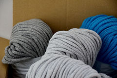Package with a colorful cord cotton Royalty Free Stock Images
