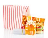 Package with colorful gift boxes Royalty Free Stock Image