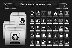 Package constructor. Packaging symbols. Icon set Stock Image