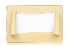 Package delivery. Brown paper package delivery torn in the center Stock Photo