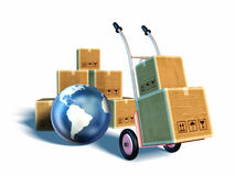 Package delivery. A trolley carrying some boxes. A pile of boxes and an iconic Earth on background. Clipping path included. Digital illustration Stock Image