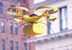 Package Delivery by Drone Stock Photo
