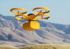 Package Delivery by Drone Royalty Free Stock Images