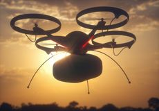 Package Delivery by Drone Royalty Free Stock Photos