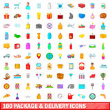 100 package and delivery icons set, cartoon style. 100 package and delivery icons set in cartoon style for any design vector illustration Royalty Free Stock Photo