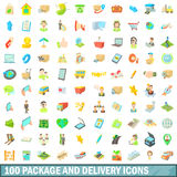100 package and delivery icons set, cartoon style. 100 package and delivery icons set in cartoon style for any design vector illustration Royalty Free Stock Image