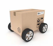 Package delivery. A pack with wheels representing sending package stock photos