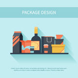 Package design in flat style Stock Image