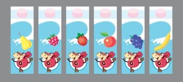 Milk package design. Package design for fruits milk. Vector illustration royalty free illustration