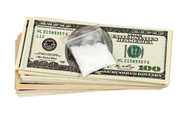 Package with  drug against the U.S. dollars bills Stock Photography