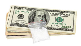 Package with a drug and money Stock Photography
