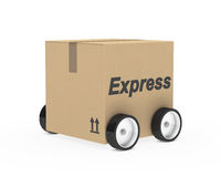 Package express car figure. Brown package car figure on withe background Stock Photography