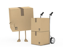 Package figur and hand truck Stock Image