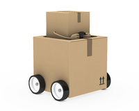 Package figure. Brown package figure drive in a car Royalty Free Stock Photos