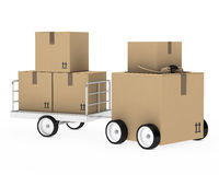 Package figure. Brown package figure car with a trailer Royalty Free Stock Photography