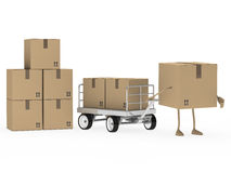 Package figure draw transport trolley Royalty Free Stock Images