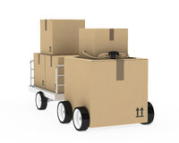 Package figure drive. Brown package figure pull a metal trailer Royalty Free Stock Photography
