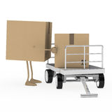 Package figure load trolley. Brown package figure load a transport trolley Stock Photos