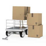 Package figure offload trolley Stock Photos