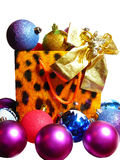 Package filled with different toys. Paper package filled with different toys royalty free stock photography