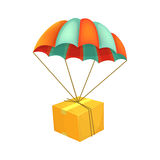 Package flying on parachute. Air shipping. Box vector icon. Delivery service concept.. Cartoon style vector illustration Royalty Free Stock Image