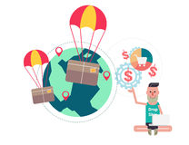 Package flying on parachute and business man vector illustration Royalty Free Stock Photo
