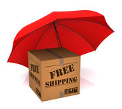 Package Free Shipping and Umbrella. Package Free Shipping and Red Umbrella. 3D Rendering Stock Photo
