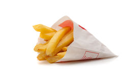 A package of french fries on a white background Royalty Free Stock Photos