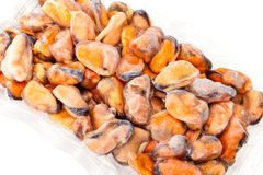 Package Of Frozen Mussels royalty free stock images