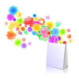 Package with a gift box and flowers. White package  with a gift box and flowers Stock Image